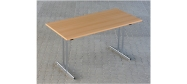 Fumac Konferencebord 140 x 70 cm. med krom stel. Fås med bordplade i ahorn - bøg - hvid og grå Decor laminat.